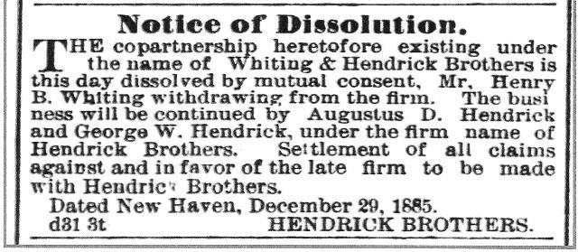 hendrick whiting dissolution